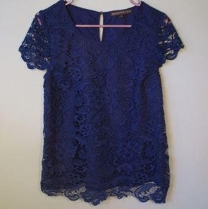 🔥3/$30 Brixon Ivy Royal Blue Lace Overlay Blouse
